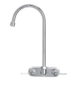 Fisher 19607 - 4-inch BACKSPLASH WITH ELBOWS FAUCET WITH 6-inch SWIVEL GOOSENECK SPOUT & LEVER HANDLES