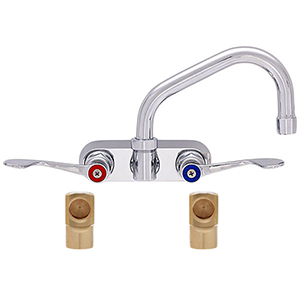 Fisher 19623 - 4-inch BACKSPLASH WITH ELBOWS FAUCET WITH 6-inch SWING SPOUT & WRIST HANDLES