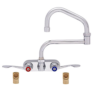 Fisher 19690 - 4-inch BACKSPLASH WITH ELBOWS FAUCET WITH 6-inch SWING SPOUT, 7-inch DJ & WRIST HANDLES