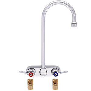 Fisher 19844 - 4-inch BACKSPLASH WITH ELBOWS FAUCET WITH 6-inch RIGID GOOSENECK SPOUT & LEVER HANDLES