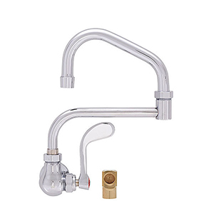 Fisher 20540 - SINGLE BACKSPLASH WITH ELBOW FAUCET WITH 10-inch SWING SPOUT, 7-inch DJ & WRIST HANDLE