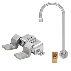 Fisher 22861 - STAINLESS STEEL BACKSPLASH WITH ELBOW BASE & DUAL FOOT FLOORVALVE WITH 6-inch SWIVEL GOOSENECK SPOUT