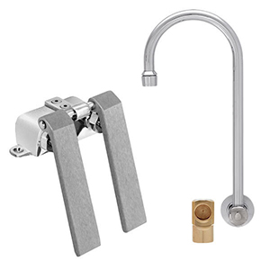 Fisher 23043 - BACKSPLASH WITH ELBOW BASE & DUAL KNEE VALVE WITH 12-inch RIGIDGOOSENECK SPOUT