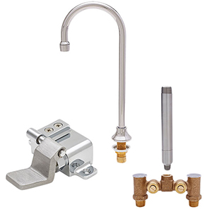 Fisher 23124 - DECK BASE & SINGLE FOOT FLOOR VALVE WITH 6-inch RIGID GOOSENECK SPOUT & TEMP ADJUST VALVE