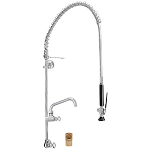 Fisher 24686 - STAINLESS STEEL 3/4-inch SPRING PRERINSE WITH SINGLE BACKSPLASH WITHELBOW CONTROL VALVE, 16-inch RISER, 30-inch HOSE, WALL BRACKET, ULTRASPRAY VALVE, ADDON FAUCET WITH 14-inch SWING SPOUT & INLINE VACUUM