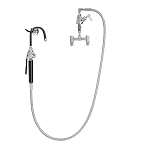 Fisher 25844 - STAINLESS STEEL POT FILLER WITH SINGLE DECK CONTROL VALVE, 60-inchHOSE, SWIVEL ELBOW & WALL HOOK