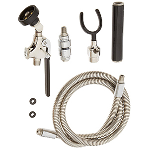 Fisher 26034 - STAINLESS STEEL 60-inch HOSE & UTILITY SPRAY VALVE WITH LONG SQUEEZELEVER & SINGLE WALL HOOK BASE & INLINE VACUUM BREAKER