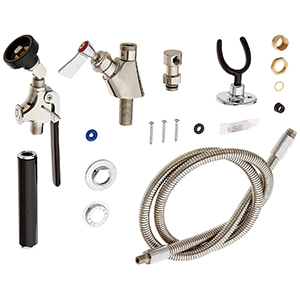 Fisher 26506 - STAINLESS STEEL UTILITY SPRAY WITH SINGLE DECK CONTROL VALVE, 60-inchHOSE, SWIVEL ELBOW & WALL HOOK