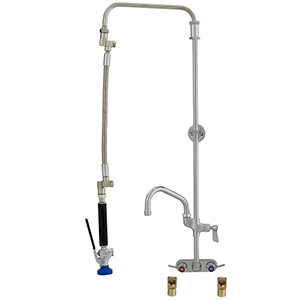 Fisher 26891 - ULTRA PRERINSE WITH 4-inch BACKSPLASH WITH ELBOWS CONTROL VALVE, 25-inch RISER, 12-inch HOSE, WALL BRACKET, ULTRA SPRAY VALVE & ADDON FAUCETWITH 10-inch SWING SPOUT