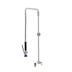 Fisher 27103 - SWIVEL PRERINSE WITH SINGLE BACKSPLASH WITH ELBOW CONTROL VALVE, 31-inch RISER, 15-inch HOSE, WALL BRACKET & ULTRA SPRAY VALVE