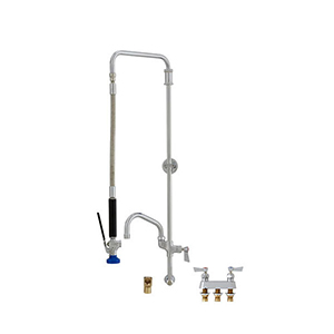 Fisher 27197 - SWIVEL PRERINSE WITH BACKSPLASH WITH ELBOW BASE & 4-inch REMOTEVALVE, 25-inch RISER, 15-inch HOSE, WALL BRACKET, ULTRA SPRAY VALVE &ADDON FAUCET WITH 6-inch SWING SPOUT
