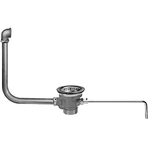 Fisher 28959 - DrainKing Waste Valve with Locking Basket Strainer and 19-inch x 21-inch Overflow, Rough Chrome