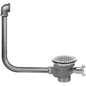 Fisher 29009 - DrainKing Waste Valve with Flat Strainer, 19-inch x 21-inch Overflow and Vandal Resistant Knob, Rough Chrome