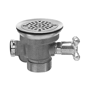 Fisher 29041 - DrainKing Waste Valve with Flat Strainer, Overdlow Body and Vandal Resistant Knob - Rough Chrome