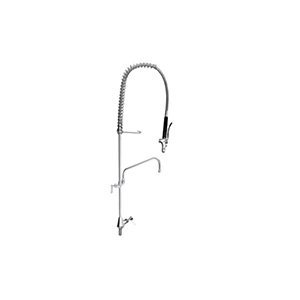 Fisher 32336 - STAINLESS STEEL SPRING GLASS FILLER WITH SINGLE DECK CONTROLVALVE, 16-inch RISER, 36-inch HOSE, WALL BRACKET, GLASS FILLER VALVE &ADDON FAUCET WITH 16-inch SWING SPOUT