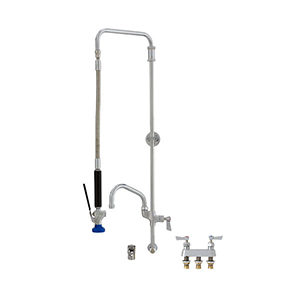 Fisher 37737 - STAINLESS STEEL SWIVEL PRERINSE WITH BACKSPLASH WITH ELBOW BASE &4-inch REMOTE VALVE, 25-inch RISER, 15-inch HOSE, WALL BRACKET, ULTRA SPRAYVALVE & ADDON FAUCET WITH 8-inch SWING SPOUT