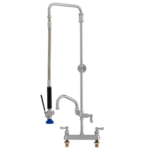 Fisher 38067 - STAINLESS STEEL SWIVEL PRERINSE WITH 8-inch DECK CONTROL VALVE, 25-inch RISER, 15-inch HOSE, WALL BRACKET, ULTRA SPRAY VALVE & ADDON FAUCETWITH 16-inch SWING SPOUT
