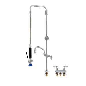 Fisher 38555 - STAINLESS STEEL SWIVEL PRERINSE WITH DECK BASE & 4-inch REMOTE VALVE,25-inch RISER, 15-inch HOSE, WALL BRACKET, ULTRA SPRAY VALVE, ADDONFAUCET WITH 8-inch SWING SPOUT