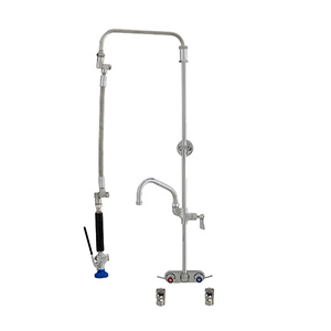 Fisher 40029 - STAINLESS STEEL ULTRA PRERINSE WITH 4-inch BACKSPLASH WITH ELBOWSCONTROL VALVE, 25-inch RISER, 12-inch HOSE, WALL BRACKET, ULTRA SPRAY &ADDON FAUCET WITH 10-inch SWING SPOUT