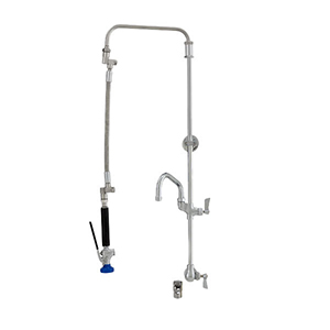 Fisher 40878 - STAINLESS STEEL ULTRA PRERINSE WITH SINGLE BACKSPLASH WITH ELBOWCONTROL VALVE, 25-inch RISER, 12-inch HOSE, WALL BRACKET, ULTRA SPRAYVALVE & ADDON FAUCET WITH 6-inch SWING SPOUT