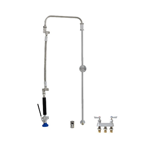 Fisher 41122 - STAINLESS STEEL ULTRA PRERINSE WITH BACKSPLASH WITH ELBOW BASE &4-inch REMOTE VALVE, 31-inch RISER, 12-inch HOSE, WALL BRACKET & ULTRA SPRAYVALVE