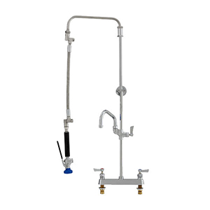 Fisher 41645 - STAINLESS STEEL ULTRA PRERINSE WITH 8-inch DECK CONTROL VALVE, 25-inch RISER, 12-inch HOSE, WALL BRACKET, ULTRA SPRAY VALVE & ADDON FAUCETWITH 10-inch SWING SPOUT