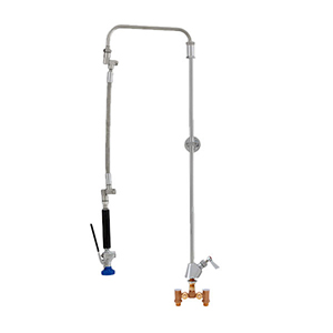 Fisher 42676 - STAINLESS STEEL ULTRA PRERINSE WITH SINGLE DECK WITH TEMP ADJUSTCONTROL VALVE, 31-inch RISER, 12-inch HOSE, WALL BRACKET & ULTRA SPRAYVALVE