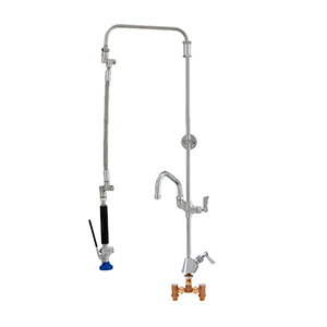 Fisher 43230 - STAINLESS STEEL ULTRA PRERINSE WITH SINGLE DECK WITH TEMP ADJUSTCONTROL VALVE, 25-inch RISER, 12-inch HOSE, WALL BRACKET, ULTRA SPRAYVALVE & ADDON FAUCET WITH 14-inch SWING SPOUT