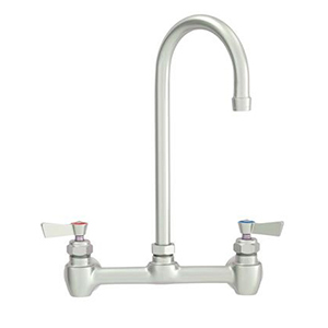Fisher - 47376 - 8-inch Backsplash Mounted Faucet EZ - 6-inch Rigid Gooseneck Spout, Wristblade Handles