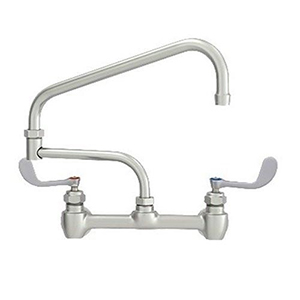 Fisher - 48704 - 8-inch Backsplash Mounted Faucet EZ - 19-inch Double Swing Spout, Wristblade Handles