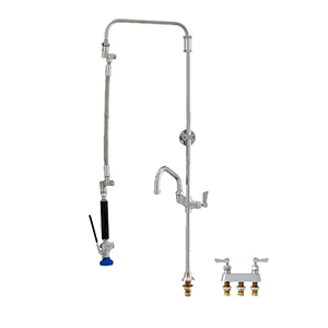 Fisher 48976 - STAINLESS STEEL ULTRA PRERINSE WITH DECK BASE & 4-inch REMOTE VALVE,25-inch RISER, 12-inch HOSE, WALL BRACKET, ULTRA SPRAY VALVE & ADDONFAUCET WITH 14-inch SWING SPOUT