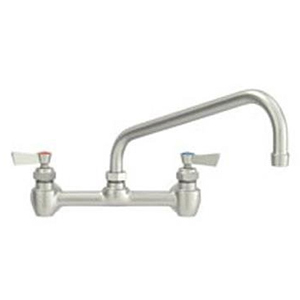"Fisher - 57061 - 8"" Wall Mounted Faucet with Eccentrics, Concentrics, EZ Install Adapters & Elbow, 6-inch Swing Spout and Wrist Handles"