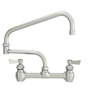 "Fisher - 57142 - 8"" Wall Mounted Faucet with Eccentrics, Concentrics, EZ Install Adapters & Elbow, 13-inch Double Jointed Swing Spout and Wrist Handles"
