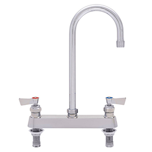 "Fisher - 57789 - 8"" Wall Body with Deck Mount Adapters, 12-inch Gooseneck Spout and Lever Handles"