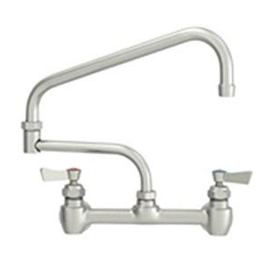 "Fisher - 60461 - 8"" Wall Mounted Faucet with Concentrics & EZ Install Adapters, 23-inch Double Jointed Swing Spout and Lever Handles"
