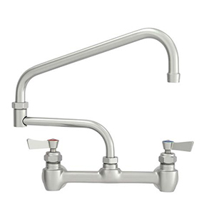 "Fisher - 60879 - 8"" Wall Mounted Faucet with Concentrics & EZ Install Adapters, 17-inch Double Jointed Swing Spout and Lever Handles"