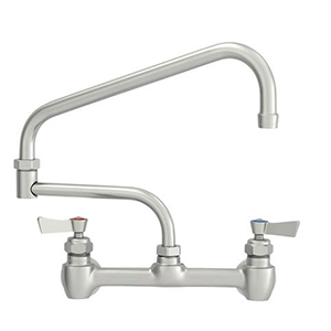 "Fisher - 61034 - 8"" Wall Mounted Faucet with Concentrics, 15-inch Double Jointed Swing Spout and Lever Handles"