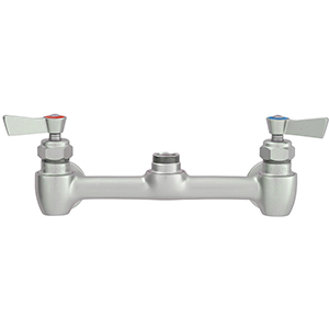 "Fisher - 61506 - 8"" Wall Mounted Faucet with Concentrics & EZ Install Adapters, Swivel and Lever Handles"